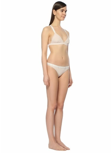 Love Kemerli Çizgili Bikini Altı Pudra